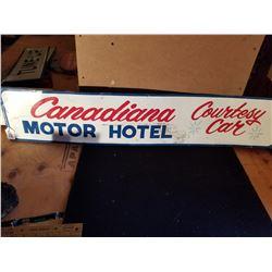 """ORGINAL HOTEL COURTESY CAR TIN SIGN 36""""X7"""""""