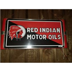 """RED INDIAN LIGHT UP SIGN - ORIGINAL CASE - NEW FACE - WORKING 25""""X13"""""""