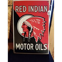 """RED INDIAN MOTOR OIL SIGN PORCELAIN 20""""X14"""" - REPRO"""