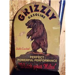 """GRIZZLY GAS DOME TOP METAL SIGH 16""""X24"""" - REPRO"""