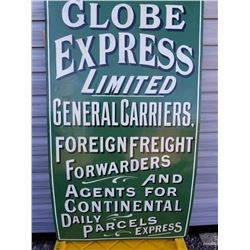 """LG. PORCELAIN GLOBE EXPRESS PARCELS SIGN 54""""X31"""""""