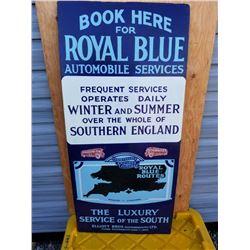 """LG. ROYAL BLUE AUTO SERVICE PORCELAIN SIGN 44""""X20"""" TOUCHED UP"""