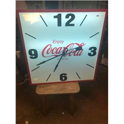 COKE CLOCK, 38X38 LIGHTS UP, CLOCK, NEEDS CLEANING