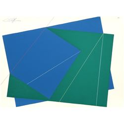Cris Cristofaro, Green and Blue Rectangles, Silkscreen