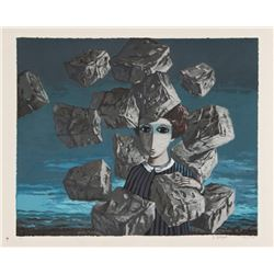 Yosl Bergner, Portrait with Falling Rocks, Lithograph