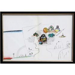 Saul Steinberg, Artist in Landscape, Lithograph