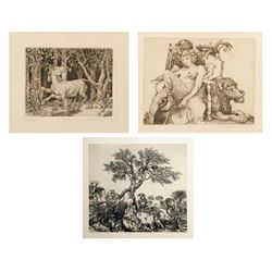Stan Washburn, Lot of 3 Etchings - Horse, Lion, Tree