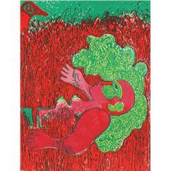 Corneille, Dans l'infinie verticalite de l'herbe la femme, Lithograph