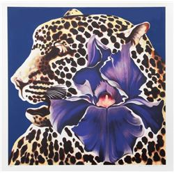 Lowell Blair Nesbitt, Spotted Leopard and Purple Iris, Serigraph