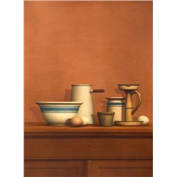 William Bailey, Still Life with Eggs, Candlestick and Bowl, Collotype