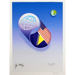 Avi Farin, Global USA, Print by artist and John McCain in ink