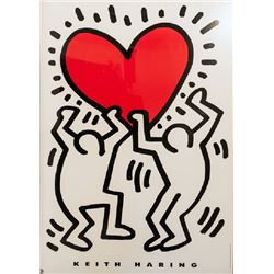 Keith Haring, Men Holding Heart, Lithograph with Estate Seal