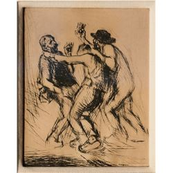 Edmund Blampied, Bar Fight, Etching with Drypoint