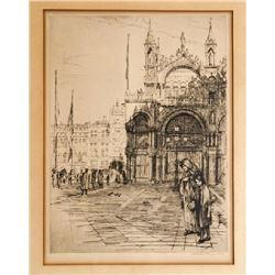 Earl Stetson Crawford, City Square with Grandmother and Child, Etching