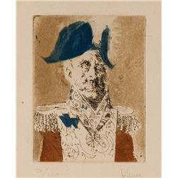 Jack Levine, Italian General, Etching and Lift Ground