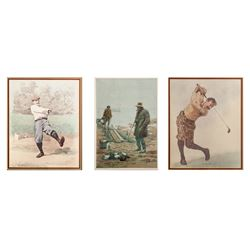 A.B. Frost, Lot of 3 Golf and Hunting Illustration Lithographs