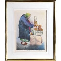 Seymour Rosenthal, The Pretzel Lady, Lithograph