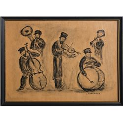 Simon Karczmar, Band from Shtetl, Lithograph