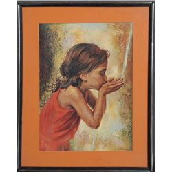 Sandu Liberman, Child Drinking Water, Offset Lithograph