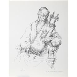 Abraham Straski, Rabbi with Torah, Lithograph