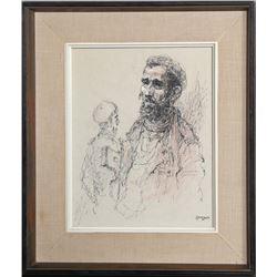 William Weintraub, Two Jewish Men, Lithograph