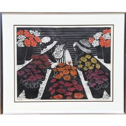 Patricia Golden, Blossoms, Woodcut