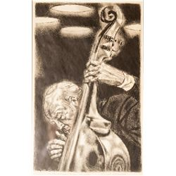 Joseph Hirsch, Bass Viol (Cole 34), Lithograph