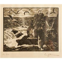 Leo Meissner, Sea Gulls, Wood Engraving