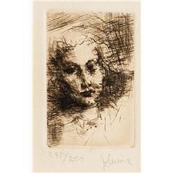 Jack Levine, Portrait of Young Woman, Etching