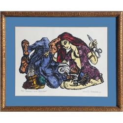 Morton Garchik, Samson and Delilah, Color Woodcut