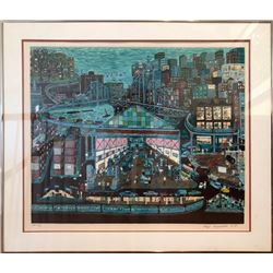 Ralph Fasanella, Going to Work, Serigraph