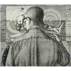 Daniel Serra-Badue, Self-Portrait, Lithograph