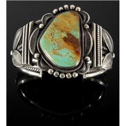 G Tom Navajo Etched Sterling & Ajax Turquoise Cuff