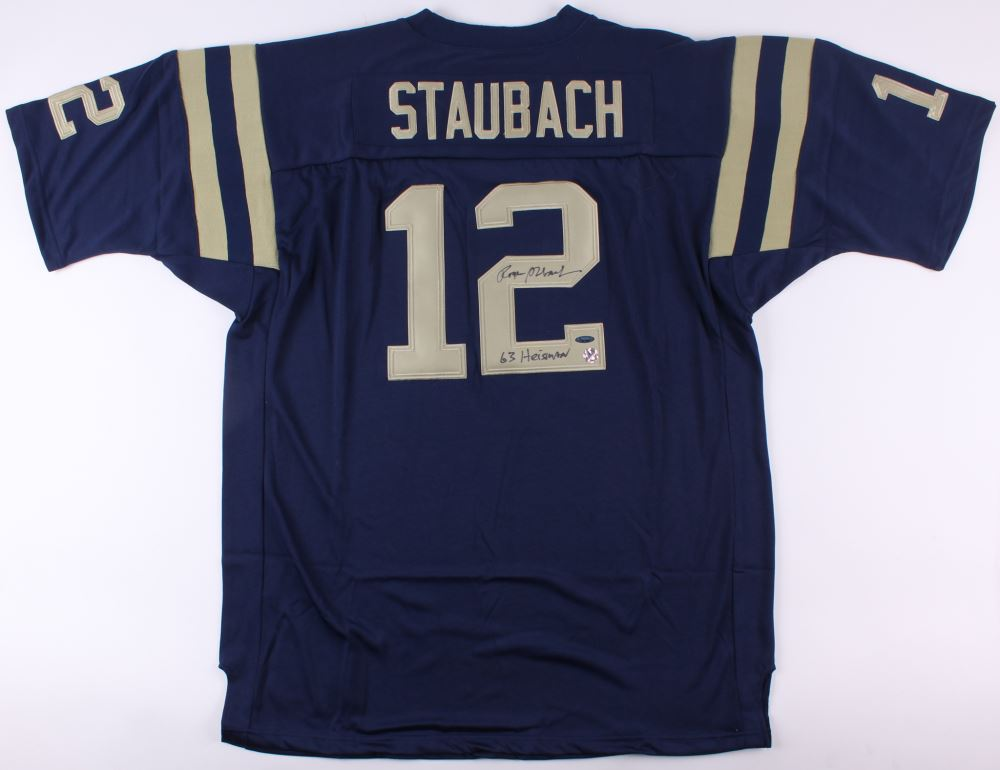 separation shoes a2212 b1ce4 Roger Staubach Signed Navy Midshipmen Jersey Inscribed ...