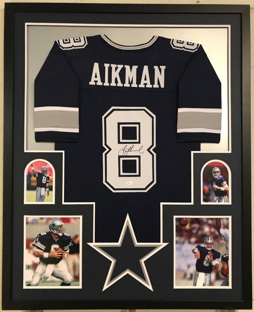 new style f503d 2454e Troy Aikman Signed Cowboys 34x42 Custom Framed Jersey ...