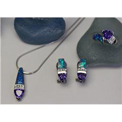 Michigan – Crushed Opal and Tanzanite Jewelry Set