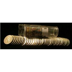"1963 Gem BU Roll of Canada ""Beaver"" Nickels in a plastic tube."