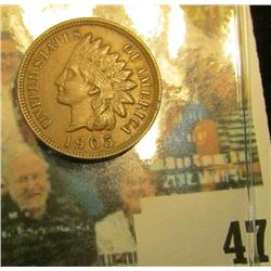 1905 Indian Head Cent, Nice Chocolate Brown AU.