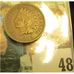 1909 Indian Head Cent, Nice Chocolate Brown AU.