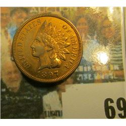 1897 Indian Head Cent, AU-Unc, Red-brown.