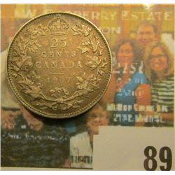 1907 Canada Silver Quarter, Fine.