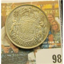 1939 Canada Half Dollar, VF.