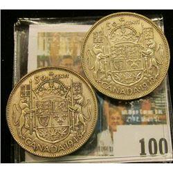 1946 & 49 Canada Half Dollars, VF-EF.