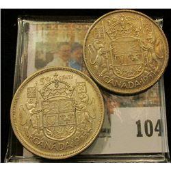 1954 & 1955 Canada Silver Half Dollars, VF-EF.