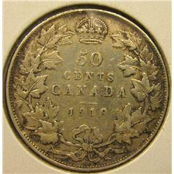 1919 Canada Silver Half Dollar, F-VF.