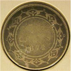 1872 H Newfoundl& Canada Silver Half Dollar, VG/AG.