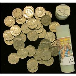 1939 S Solid date average circulated Jefferson Nickels in a plastic tube.