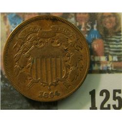 1864 U.S. Two Cent Piece, Large Motto variety. VF.