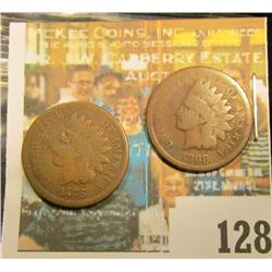 1868 & 1875 U.S. Indian Head Cents, Good.