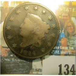 1824 U.S. Matron Head Large Cent, Good.